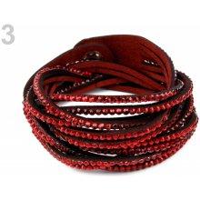 Náramek splétaný s kamínky dvojitý 3 červená karmínová