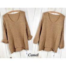 e06d9bffc03 Fashionweek Báječný pleteny luxusní svetr dámský V-neck ALPAKA MD12 W28  Camel