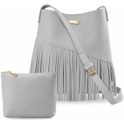 bfdf4477a3 sada dámská kabelka vak boho s třásněmi + taštička šedá alternativy ...