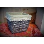 Prodomax Květináč keramický, šedý ratan 17x17x15 cm