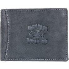Born to be wild šedá kožená peněženka se škorpionem se zipem v přihrádce na bankovky