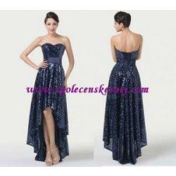 Modré dlouhé společenské plesové svatební šaty flitrové na šněrování luxusní ede7d50911