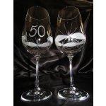 Lužické sklo Jubilejní/výroční číše broušená souprava na víno dekor Kanta J-333 600 ml 2 ks