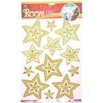 Okenní fólie vánoční 3D 887662 Hvězdičky zlaté, Wiky