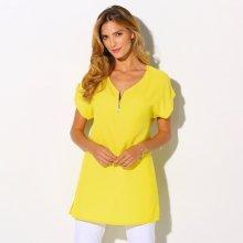 Blancheporte Jednobarevná halenka se zipovým výstřihem a krátkými rukávy žlutá