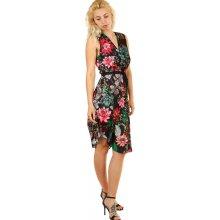 YooY dámské letní květované šaty černá 0968230b6c