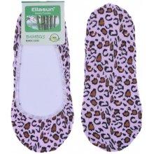 Bambusové ponožky do balerín leopard - růžová