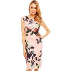 78761a6bfd62 Elastické pouzdrové šaty nad kolena s potiskem květin 7011 růžová