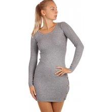 01f2bff107ef YooY dámské úpletové šaty s ozdobnými patenty 264967 šedá