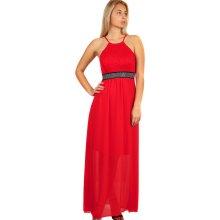 TopMode dlouhé šaty s kamínkovou aplikací pase červená c2a7518b57