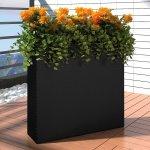 vidaXL 41084 Zahradní obdélníkový ratanový květináč, set, černý