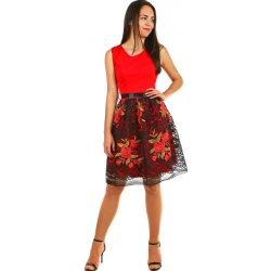 e34efca80020 Společenské dámské šaty s krajkovou sukní 402350 červená od 1 120 Kč ...
