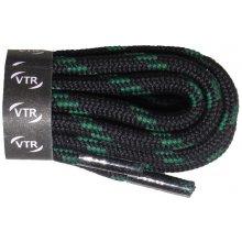 Kulaté trekingové tkaničky černo zelené 90 cm
