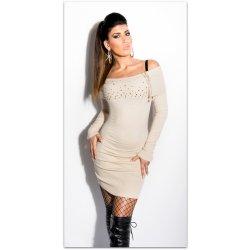 0f2e567f806f Koucla dámské svetrové mini šaty s kamínky a zipem 228187-9 béžová ...