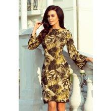 e8d9327e0 Numoco šaty se vzorem listů 221-2 hořčicová