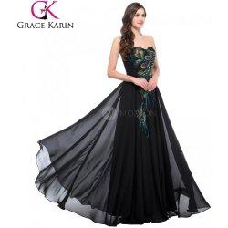 Grace Karin společenské šaty s výšivkou pavých per CL6168-1 Černá ... 3e80a783f0