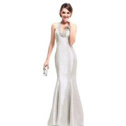 Stříbrné dlouhé společenské svatební šaty za krk střih mořská panna s  kamínkama ba5c768fbb