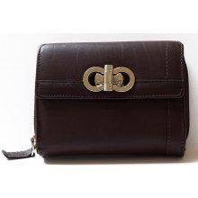 HMT Tmavěhnědá dámská kožená peněženka