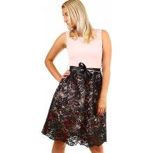 c3a47111c5e YooY dámské společenské krátké šaty s krajkou světle růžová