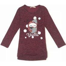 Dívčí triko, svetřík s flitry-KUGO ML7095, Bordo