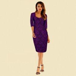 Elegantní pouzdrové šaty midi 82252120-3 krajka fialová vínová od ... a65ca7467c