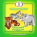 Exotická zvířata Omalovánky se samolepkami A5