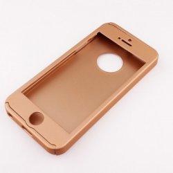 Pouzdro SES Oboustranné 360° celotělové plastové Apple iPhone 5 5S SE -  zlaté 6d61fdf2495