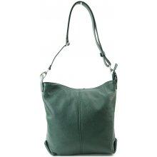 Made In Italy kabelka kožená tmavě zelená crossbody d72f3cb3fa0