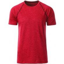JAMES & NICHOLSON Pánské funkční tričko JN496 Červený melír titan
