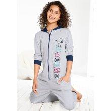 Snoopy pyžamový overal šedá melír