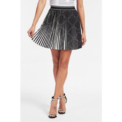 Guess sukně Gonna Plissettata černo-bílá