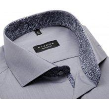 Eterna Comfort Fit Chambray – šedá košile s modrým vnitřním límcem - extra  prodloužený rukáv fd4beb5836