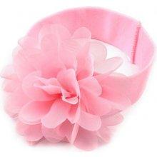 Dětská elastická čelenka s květem růžová sv.