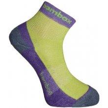 BX-2 FUN bambusové kotníčkové ponožky BAMBOX fialová / limetka