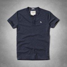 Pánské tričko Abercrombie & Fitch henley navy modré