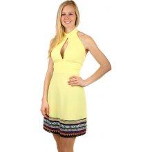 9026d0e456c1 TopMode dámské šaty za krk s holými zády žlutá