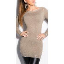 Koucla dámský dlouhý svetr s kamínky hnědá 7c6a5bfead