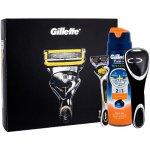 Gillette Fusion Proshield holicí strojek holicí strojek s jednou hlavicí + gel na holení Fusion Proglide Sensitive Active Sport 170 ml + pouzdo na holicí strojek dárková sada