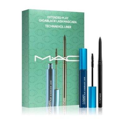 MAC Cosmetics All Black Everything Extended Play Gigablack Lash Mascara řasenka pro natočení a oddělení řas 5,7 g + Technakohl Liner kajalová tužka na oči 0,35 g dárková sada