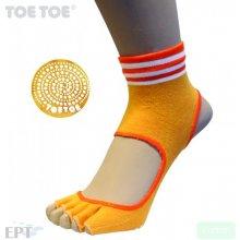 ToeToe HEEL bezprstové joga ABS protiskluzové ponožky oranžová