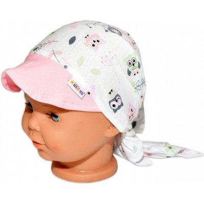 Baby Nellys Šátek na zavazování s kšiltem Sovičky
