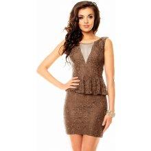 Mayaadi dámské krajkové peplum šaty hnědá 2ea39256fd8