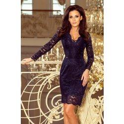 424c883d5d84 Numoco krajkové šaty s dlouhým rukávem a výstřihem 170-7 tmavě modrá