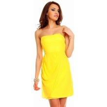 Společenské a plesové šaty korzetové značkové MAYAADI 254 Y se zadním zavazováním krátké žluté
