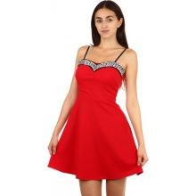Krátké večerní šaty s kamínkovou aplikací 90830 červená e89d59ab92