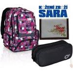 Topgal studentský batoh HIT 804 I Violet + penál Topgal + peněženka Border bílá +