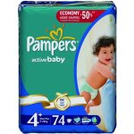 Pampers Active baby 4+ maxiplus 9-20kg 74ks