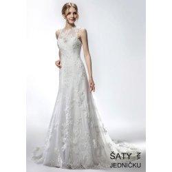 Dámské svatební šaty Helen Fontaine svatební úzké šaty ke krku s  aplikovanou krajkou HFW2737 f28af240b4