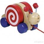 Goki dřevěná tahací hračka Šneček s otočným domečkem