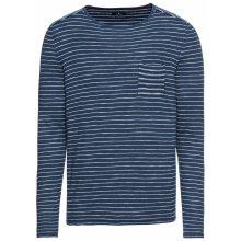 TOM TAILOR Pulovr 'fine striped sweater' tmavě modrá / bílá